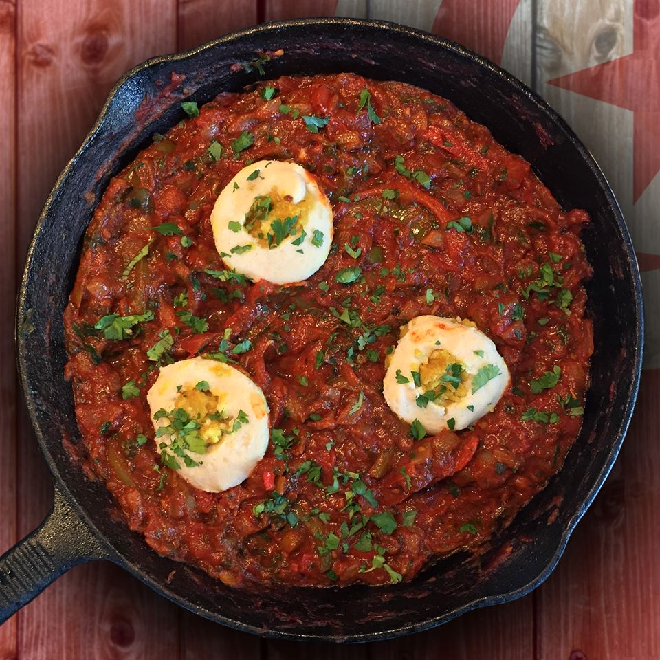 "Vegan Shakshuka (Poached ""Eggs"" + Spiced Tomato Sauce)"