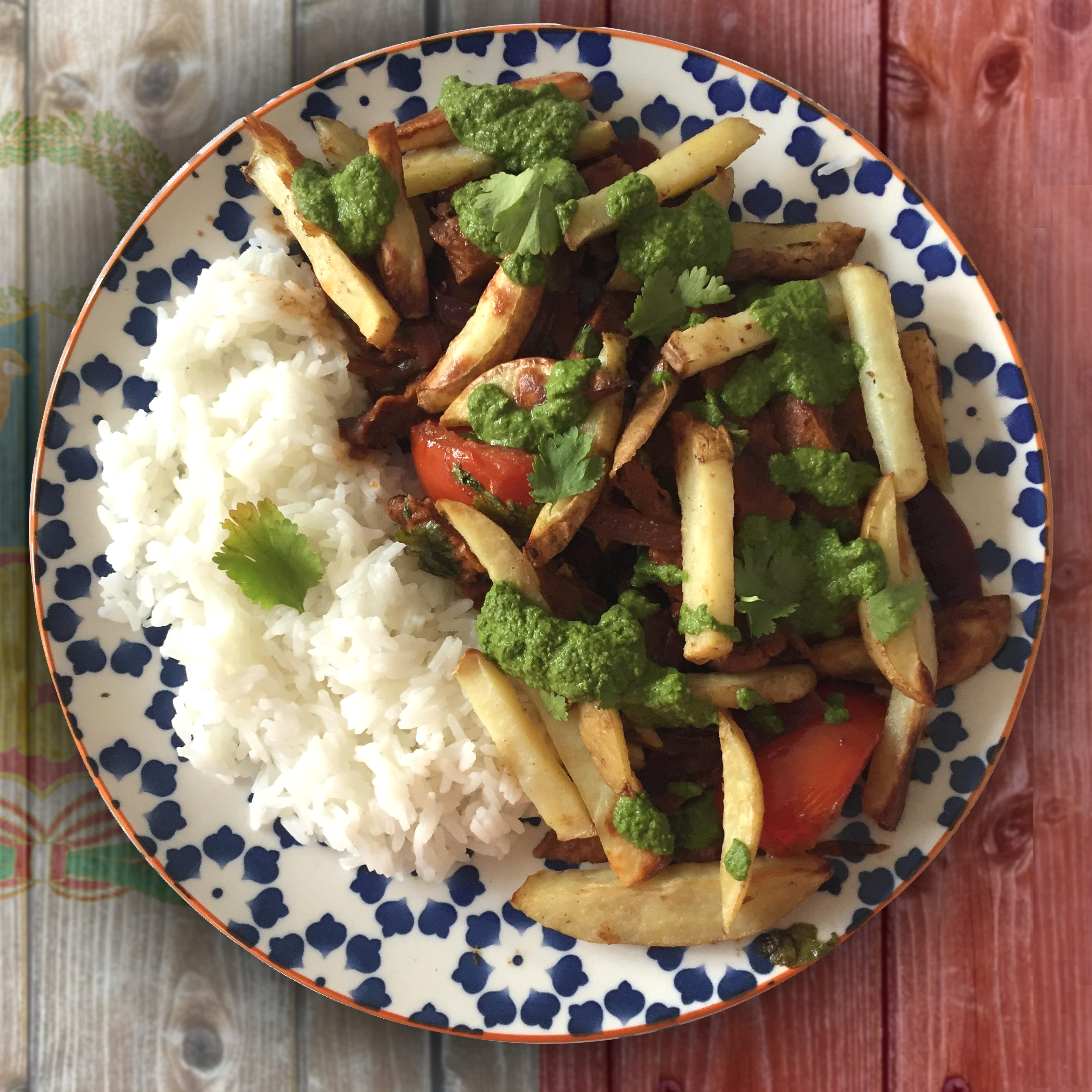 Peruvian Lomo Saltado (Vegan Steak, Rice & Fries)